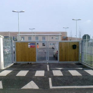 Galvanised gates at Donabate Portrane Educate Together