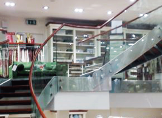 Stainless steel, glass & wood stairs