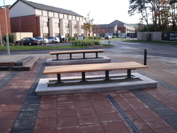 Vents for underground car park and benches constructed by Gabbett Industries.