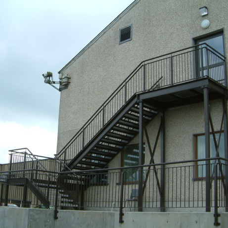 One and two storey galvanised powder-coated fire escapes